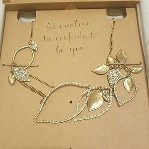 Vintage c+I pave gold leaf statement necklace